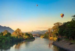 Ballons over Vang Vieng in Laos