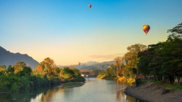 Ballons over Vang Vieng in Laos